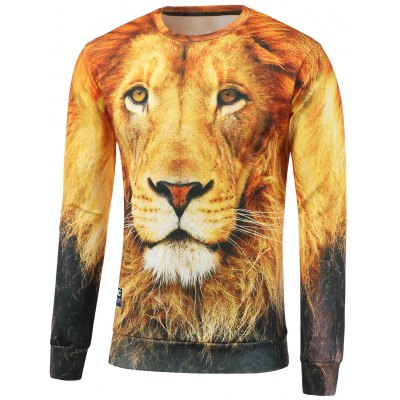Lion Print Crew Neck Sweatshirt