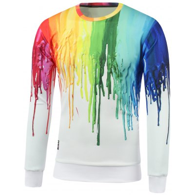 Colorful Paint Dripping Print Round Neck Sweatshirt