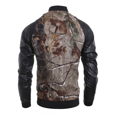 Stand Collar 3D Deadwood Print PU-Leather Spliced Jacket