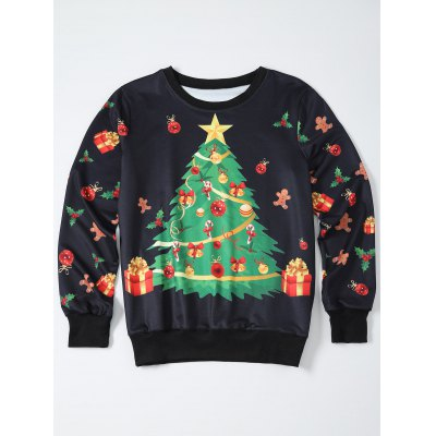 Christmas Tree Print Sweatshirt