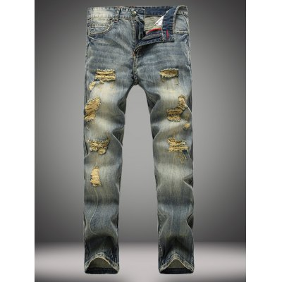 Vintage Straight Leg Distressed Jeans