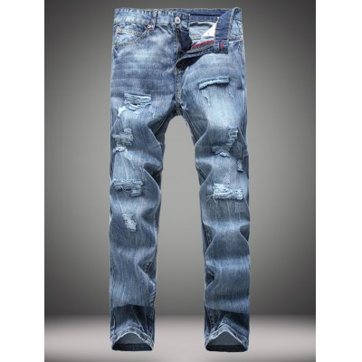 Straight Leg Zip-Fly Distressed Jeans