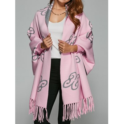 Auspicious Clouds Pattern Fringed Wool Cape Cardigan