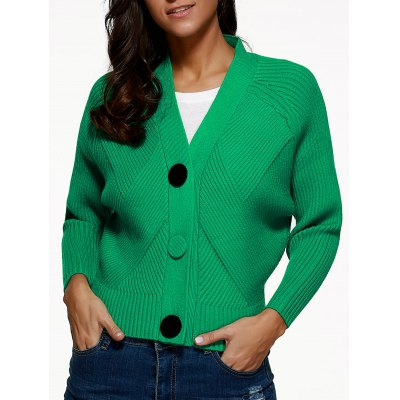 Batwing Sleeve Buttoned Cardigan