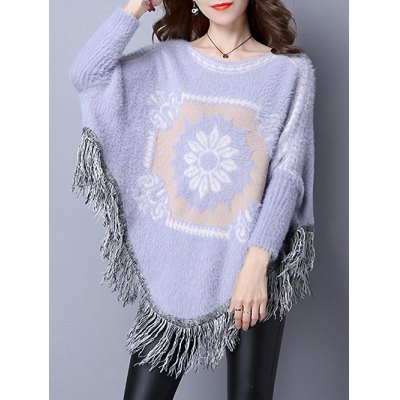 Floral Jacquard Fringed Cape Sweater