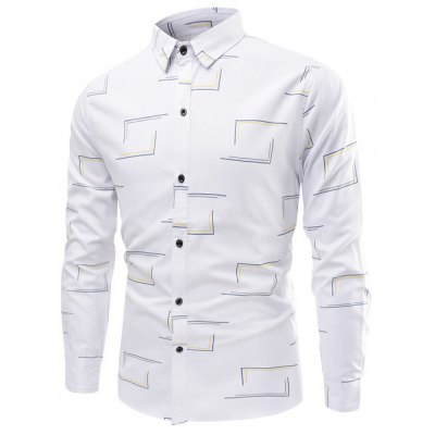 Frame Pattern Turn-Down Collar Long Sleeve Shirt