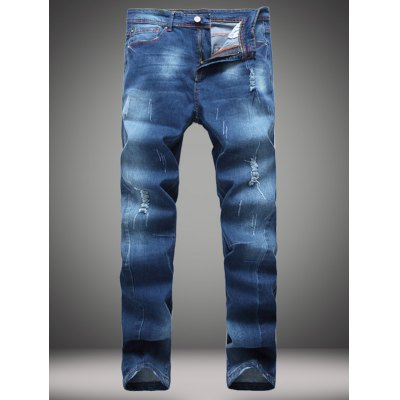 Zip-Fly Straight Leg Frayed Jeans