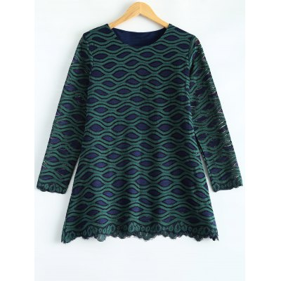 Long Sleeve Wave Pattern Lace Blouse