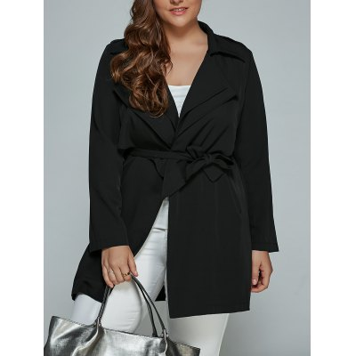 Overlay Tied Plus Size Trench Coat