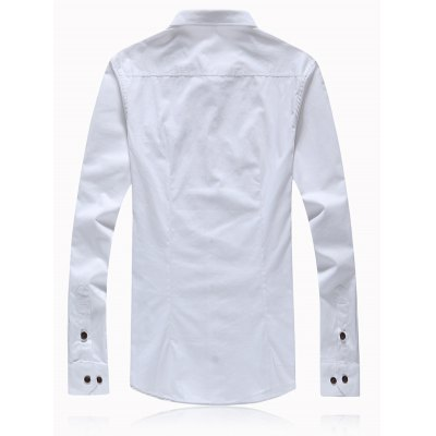 Button Turn-Down Collar Embellished Plus Size ShirtPlus Size Tops<br>Button Turn-Down Collar Embellished Plus Size Shirt<br><br>Shirts Type: Casual Shirts<br>Material: Cotton Blends<br>Sleeve Length: Full<br>Collar: Turn-down Collar<br>Weight: 0.350kg<br>Package Contents: 1 x Shirt