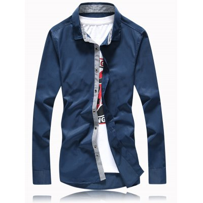 Turn-Down Collar Button Plus Size Shirt