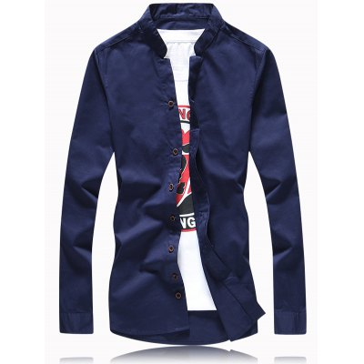 Turn-Down Collar Solid Color Button Plus Size Shirt