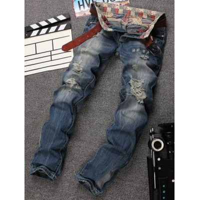 Cat's Whisker Holes Design Zipper Fly Straight Leg Jeans