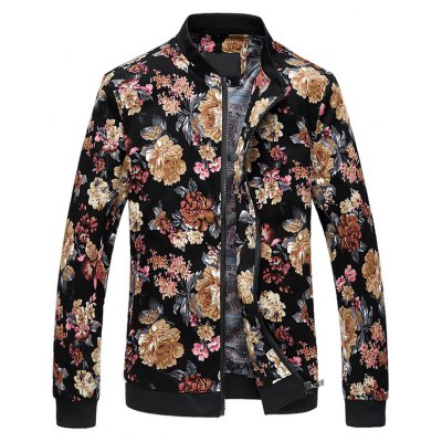 Zip Up Stand Collar Plus Size Jacket