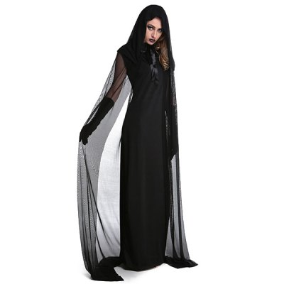 Halloween Cosplay Witch Hooded Cloak Costume Set