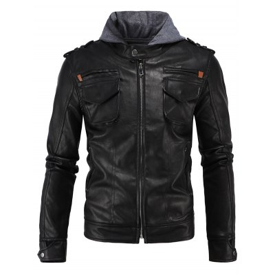 epaulet-design-pu-hooded-moto-jacket