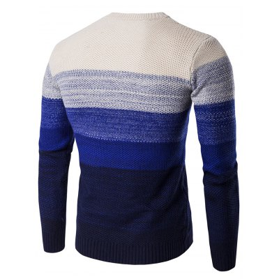 Crew Neck Gradient Color Space Dyed Sweater