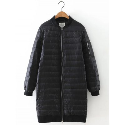 Zipped Stand Collar Down Coat