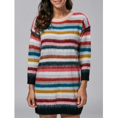 Rainbow Stripe Sweater Dress