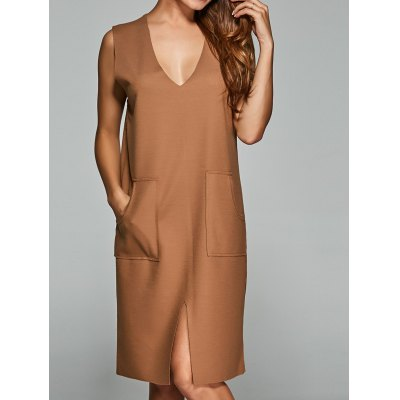 Slit Double Pocket Sweater Dress