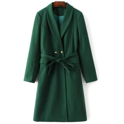 Belted Wool Blend Shawl Coat