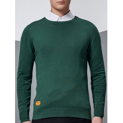 Crew Neck Patch Design Pullover Knitwear