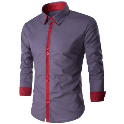 Single Breasted Long Sleeve Spliced Design Shirt