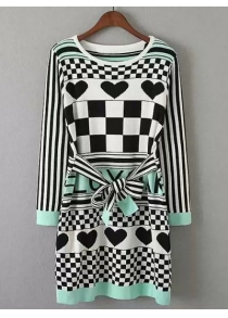 Heart Plaid Print Knitted Dress