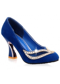 Hollow Out Rhinestone Chunky Heel Pumps
