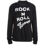 Rock N Roll Forever White Print Bomber Jacket