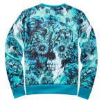 cheap Crew Neck Floral Skull Printed Sweatshirt