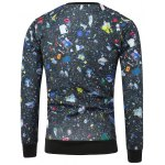 Crew Neck Skeleton Print Galaxy Sweatshirt photo