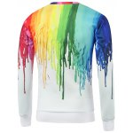 cheap Colorful Paint Dripping Print Round Neck Sweatshirt