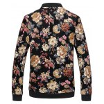 cheap Zip Up Stand Collar Flowers Pattern Plus Size Jacket