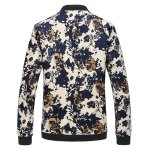 cheap 3D Floral Printed Zip Up Stand Collar Plus Size Jacket