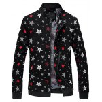 Plus Size 3D Stars Printed Zip Up Stand Collar Jacket