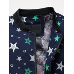 cheap Plus Size 3D Stars Printed Zip Up Stand Collar Jacket