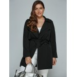 cheap Overlay Tied Plus Size Trench Coat