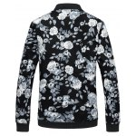 cheap Floral Print Plus Size Zipper Long Sleeves Jacket