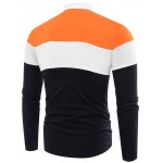 cheap Polo Collar Color Block Splicing Leaves Applique Long Sleeve T-Shirt