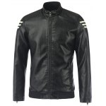 Stripe Design Stand Collar Long Sleeve PU-Leather Jacket