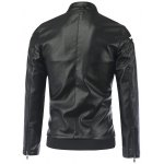 cheap Stripe Design Stand Collar Long Sleeve PU-Leather Jacket