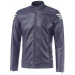 Stripe Design Stand Collar Long Sleeve PU-Leather Jacket 11027
