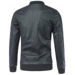 cheap Geometric Suture Design Stand Collar Long Sleeve PU-Leather Jacket