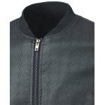 Geometric Suture Design Stand Collar Long Sleeve PU-Leather Jacket deal