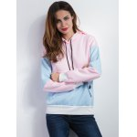 cheap Color Spliced Pullover Hoodie