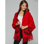 cheap Chinese Totem Fringed Wool Cape Cardigan
