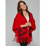 Chinese Totem Fringed Wool Cape Cardigan deal
