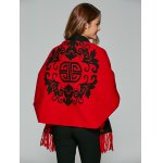 best Chinese Totem Fringed Wool Cape Cardigan