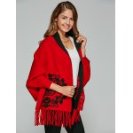 Chinese Totem Fringed Wool Cape Cardigan for sale